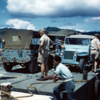 Arrival at Dublon, [Tonoas, Chuuk]. Sept. 1950