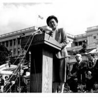 Representative Pat Saiki delivering a speech on…