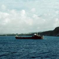 LST entering Apra Harbor. Guam. Dec. 1949