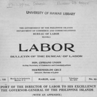 REPORT OF THE DIRECTOR OF LABOR TO HIS EXCELLENCY THE…