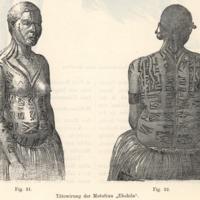 "Tatowirung der Motufrau ""Ebohila"" (VERGL. FIG. 31 & 32)"