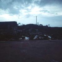 ComMar ward room mess flattened by Typhoon Allyn. Guam.…