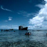 Ship Outside Satawal's Reef