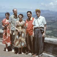 Group of people standing on Nuuanu Pali