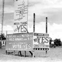 "Micronesian constitutional referendum, ""vote yes"" sign,…"