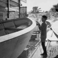 Young man working on a hull, Palau Shipyard, 1969.…