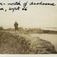 Emery Middleton walking on seashore, North of Isohama,…