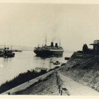 Two steamboats on the Suez Canal, Egypt