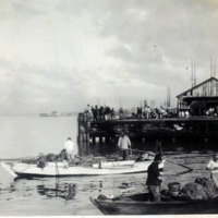 Fishing pier with boats