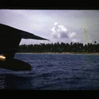 Arrival at Ujelang. Plane has just landed in lagoon…