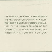 [141] Invitation to Honolulu Academy of Arts