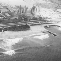 Aerial shore view [possibly powerplant at Kahe Point,…