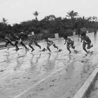 100 meter dash. Photo by D. Buffington. (N-3388.06).