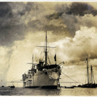 Steam Ship anchored in harbor