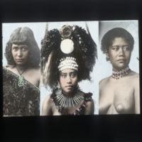 Three women in various ceremonial dress