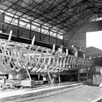 Ship building in Palau, 1966: 3. (N-PA002-116).
