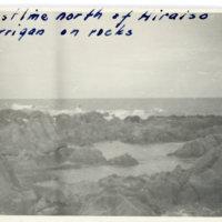 Aileen Kerrigan on rocks at Hiraiso Beach, Ibaraki…