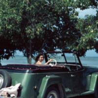 Irene Beers, Cdr. Mang's jeep. Saipan, M.I. Mar. 1950