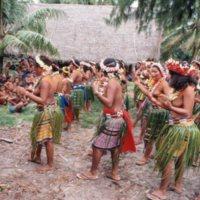 "Satawalese women dancing ""Maas"" dance on Satawal in…"