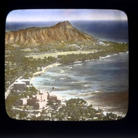 Aerial view of Diamond Head and Waikiki Beach