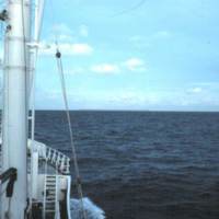 Bow and mast of Micro Spirit  transport vessel
