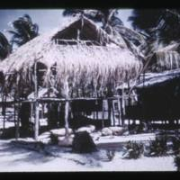 Two story thatched hut on main street of Bikini…