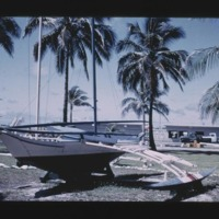 "Another slide of ""Juda's"" canoe on display at Kwaj."
