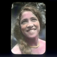 Young girl wearing pearls, colorized