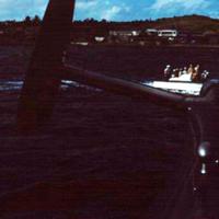 Launch approaching PBM, Yap Lagoon. 19 Dec. 1949