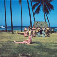 Hula done in formal dress=holokuu [holoku]. Honolulu.…
