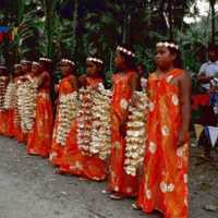 Young girls holding leis, Kosrae, 1979? (S-1858a.01).