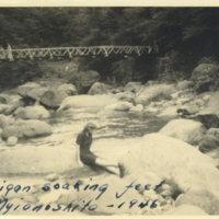 Aileen Kerrigan dipping her feet into a mountain…