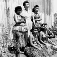Yapese women with visitor. (N-Yap 33).