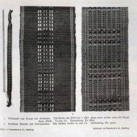1. Webstuhl von Kusae mit Schutzen. 2. Moderne Bander…