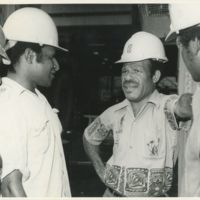 Talking to fellow workers at the Panguna mine