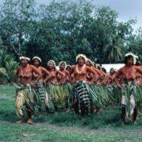 Young Satawalese women dance at the 1983 Satawal…