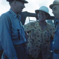 Capt. Bach, Chips Ward, L. Cdr. Herrick. Guam. Sept.…