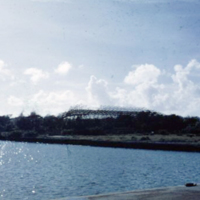 Wrecked Japanese hangar. Koror. Nov. 1951