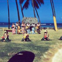 Sitting hula, Kodak's Hula Show, Honolulu. 18 Mar. 1954