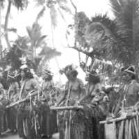 Yapese women about to begin dance, 1952. (N-2633.02).