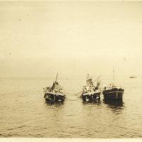 Three Japanese fishing boats at Tokyo Bay, Tokyo Japan