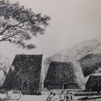 Village [19th century image of thatched houses]