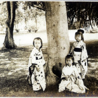 Three Little Girls in Traditional Japanese…