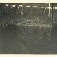 Kaizawa 2-185: Image of one sumo wrestler throwing…