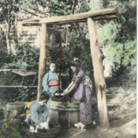 [Three girls in kimono doing laundry near the well]