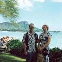 Dr. & Mrs. L. Fussell, Jr., Halekulani grounds. 8 Apr.…