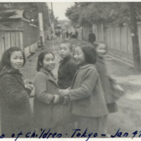 A group of Japanese children in the street, Tokyo Japan