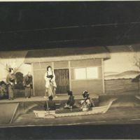 Kaizawa box 13-007: Eight kabuki actors on stage during…