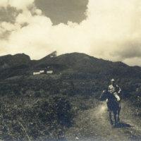 An American man riding a horse near Akakura Kanko…