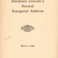 Abraham Lincoln's second inaugural address, March 4,…